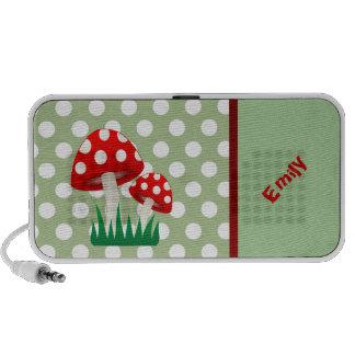 elegant cute fun girly mushrooms polka dots mini speaker
