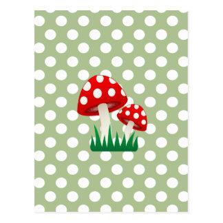 elegant cute fun girly mushrooms polka dots postcard