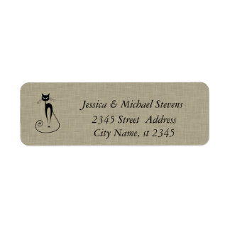 Elegant cute funny cat linen label