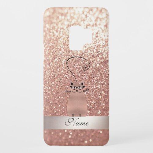 Elegant cute girly glittery rose gold cat monogram Case_Mate samsung galaxy s9 case