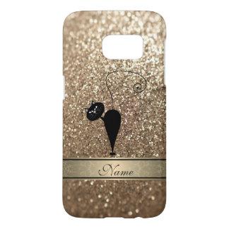 Elegant cute girly trendy faux glittercat monogram samsung galaxy s7 case
