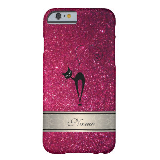 Elegant cute girly trendy glittery cat monogram barely there iPhone 6 case
