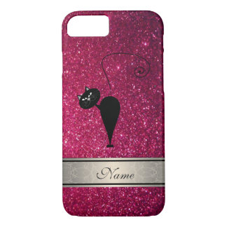 Elegant cute girly trendy glittery cat monogram iPhone 7 case