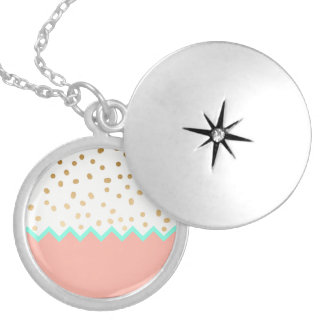 elegant cute gold foil polka dots mint and pink silver plated necklace