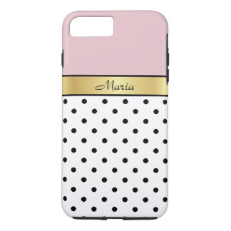 Elegant Cute Lip Gloss Pink Fashionable Polka Dots iPhone 7 Plus Case