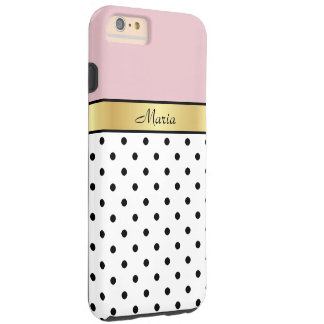 Elegant Cute Lip Gloss Pink Fashionable Polka Dots Tough iPhone 6 Plus Case