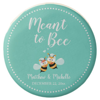 Elegant Cute Mint To Be Honey Bee Pastel Wedding Chocolate Dipped Oreo