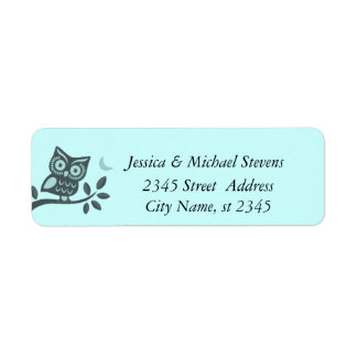 Elegant cute owl /changeble background label