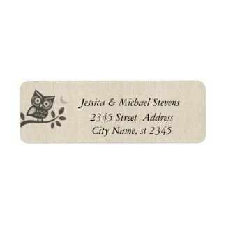 Elegant cute owl linen custom return address labels