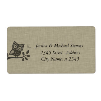 Elegant cute owl linen personalized shipping label