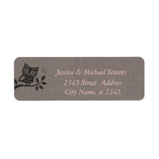Elegant cute owl linen label