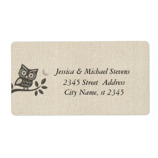 Elegant cute owl linen shipping labels