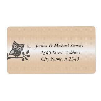 Elegant cute owl shiny label