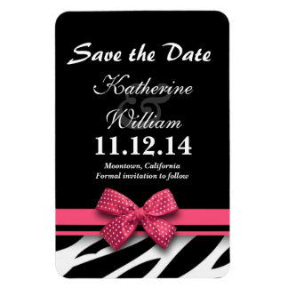 elegant cute pink bow zebra save the date magnets
