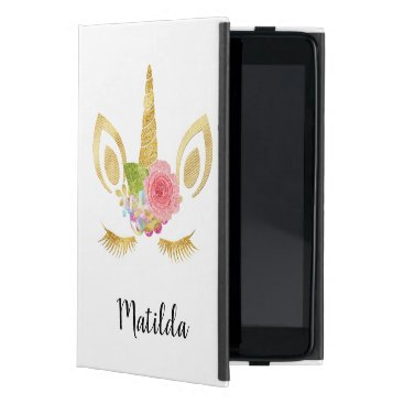 Elegant cute pretty floral gold glitter unicorn case for iPad mini