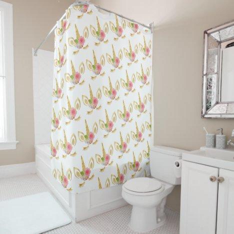 Elegant cute pretty floral gold glitter unicorn shower curtain
