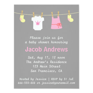 Elegant Cute Princes Baby Girl Shower Invitations