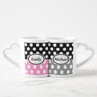 Elegant cute romantic polka dots black/rose/gray lovers mug sets