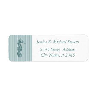 Elegant cute sea horse label