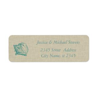 Elegant cute stylish  sea shell linen custom return address labels