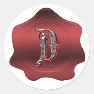 Elegant D Monogram Red Wax Seal Look Sticker
