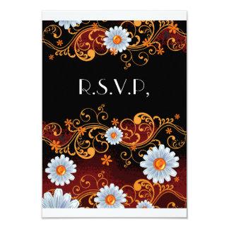 Elegant Daisy Gold Scroll Black Wedding Card