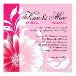 Elegant Daisy Scroll Flourish | fuchsia Invitation