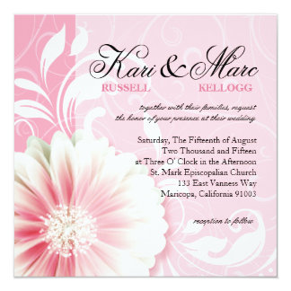 Elegant Daisy Scroll Flourish | peony pink Card