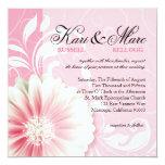 "Elegant Daisy Scroll Flourish   peony pink 5.25"" Square Invitation Card"