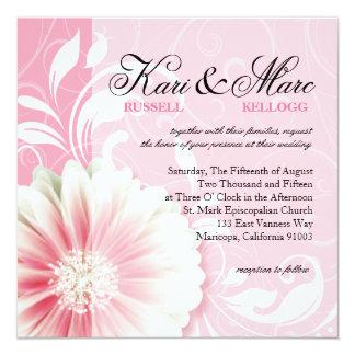 Elegant Daisy Scroll Flourish | peony pink 5.25x5.25 Square Paper Invitation Card