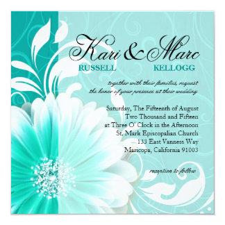 Elegant Daisy Scroll Flourish | turquoise Card