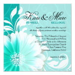Elegant Daisy Scroll Flourish | turquoise 5.25x5.25 Square Paper Invitation Card