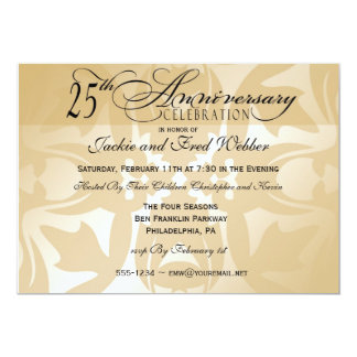 Elegant Damask 25th Anniversary Party Invitation