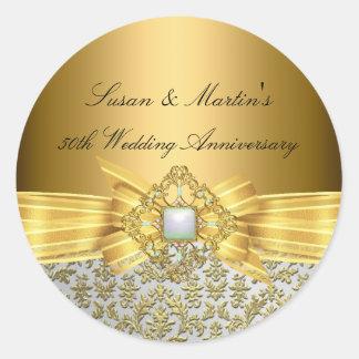 Elegant Damask 50th Wedding Anniversary Sticker