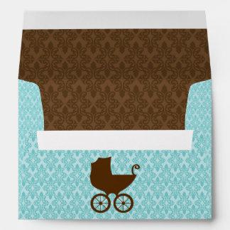 Elegant Damask and Baby Carriage Envelope