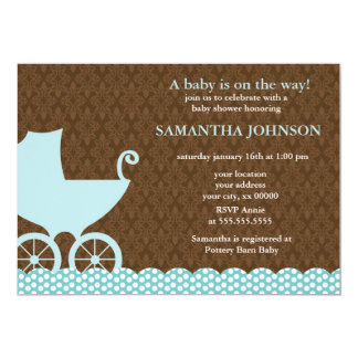 Elegant Damask and Baby Carriage Invitations