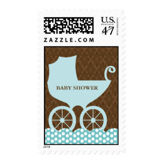 Elegant Damask and Baby Carriage Postage