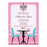 "Elegant Damask and Chandelier Pink Aqua Tea Party 5"" X 7"" Invitation Card"
