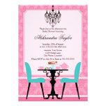 Elegant Damask and Chandelier Tea Party Invitation