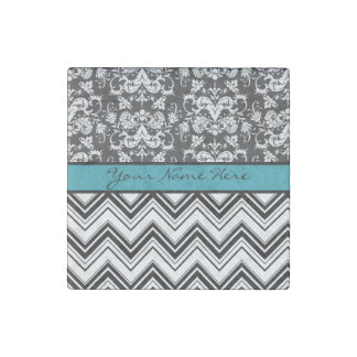 Elegant Damask and Chevrons with Turquoise Stone Magnet