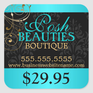 Elegant Damask and Gold Swirls Price Tag