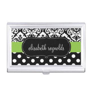 Elegant Damask and Polka Dots Business Card Holder