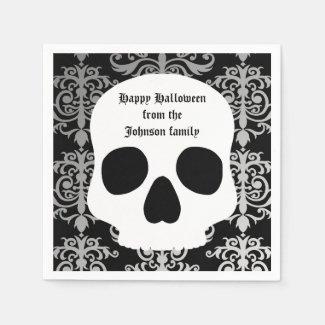 Elegant damask and skull Halloween personalized Disposable Napkins
