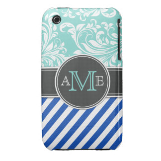 Elegant Damask and Stripes iPhone 3 Case-Mate Cases