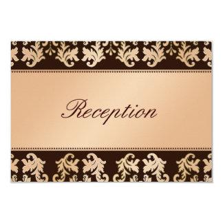 Elegant Damask Autumn Reverie Wedding Reception 3.5x5 Paper Invitation Card