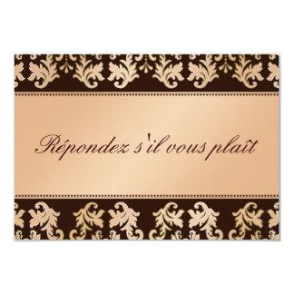 Elegant Damask Autumn Reverie Wedding RSVP 3.5x5 Paper Invitation Card