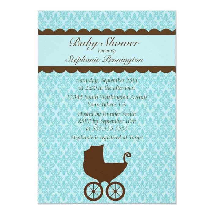 Elegant damask baby carriage shower invitation