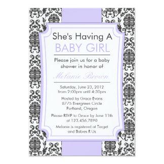 "Elegant Damask Baby Shower Invite 5"" X 7"" Invitation Card"