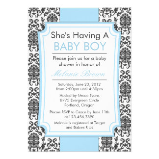 Elegant Damask Baby Shower Invite