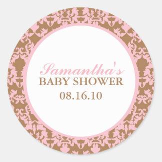 Elegant Damask Baby Shower Stickers